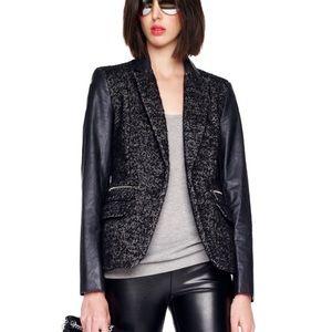 Michael Kors Faux Leather Tweed Black Blazer Sz 10
